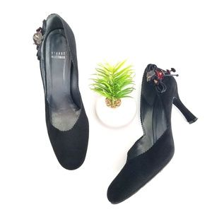 STUART WEITZMAN Black Suede Pumps Heels Red Flower